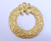 Vintage 1940s LS Lewis Sinclair Christmas wreath marcasite necklace pendant