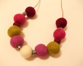 Felt Beaded Necklace, Felt Ball Necklace, Pink, Purple, Green, White
