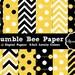 Bumble Bee Digital Paper, Chevron Paper, Polka dot Invitation Backgrounds polkadot Printable Party Paper, Invitation paper Instant Download