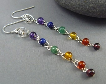 Gemstone Chakra Earrings, Sterling Silver, Healing Jewelry, Yoga Jewelry, Yoga Style, Gemstone Earrings, Rainbow Earrings, Chakra Jewelry