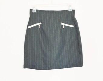 90's High Rise Pinstripe Mini Skirt size - S