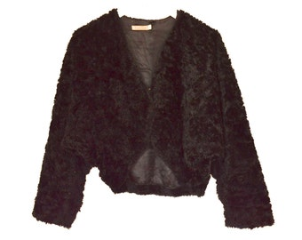 50's Black Soft Furry Fluffy Slouchy Cropped Coat size - S/M