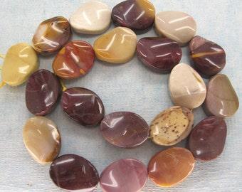 Full Strand Australian Mookaite Polish Twisted Oval Beads