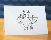 Pirate Bat Card - Personalized or Blank
