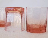 Set of 4 Vintage Pink Libbey FACETS Old Fashioned Glasses Textured Pink Libbey Octagon Glasses