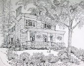 House Portrait Pen and Ink and Watercolor,Custom House Painting,Our First Home, Original House Portrait by artist Patty Fleckenstein