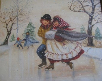 Vintage Oil Painting Winter Scene Young Couple Skating  SALE