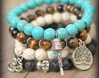 4 Elastic Yoga beaded stackable stretch bracelet Free people style Spirtual Hindu Ethnic Bohemian Om buddha Tree of life Prayer wheel charms