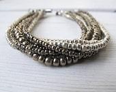Silver Czech Glass Cuff: Wide Layered Seed Bead Bracelet