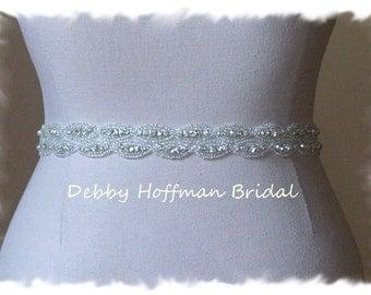 Bridal Belt, 18 Inch Wedding Dress Sash, Beaded Rhinestone Crystal Sash, Belt, No. 4070S2-18, Rhinestone Wedding Sash, Jeweled Bridal Belt