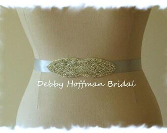 Crystal Bridal Sash Belt, Jeweled Bridal Belt, Rhinestone Wedding Sash, Beaded Wedding Belt, No. 4030S, Weddings Accessories, Belts, Sashes