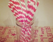 Red/White Striped Straws Set of 25 FREE shipping