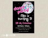Disco Birthday Party Invitation - Disco Dance Birthday Invitation - Disco Party Invitation - Dance Party Invitation - Dance Invitation