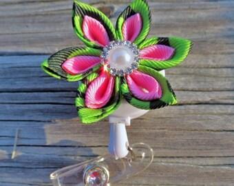 Kanzashi Flower I.D. Badge Holder with Alligator or Slide Metal Clip