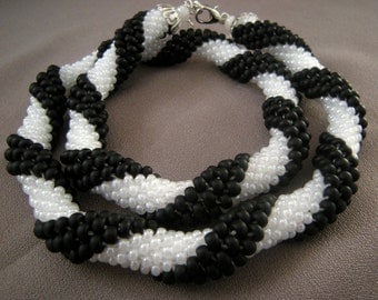 Crocheted Beaded Black White Necklace