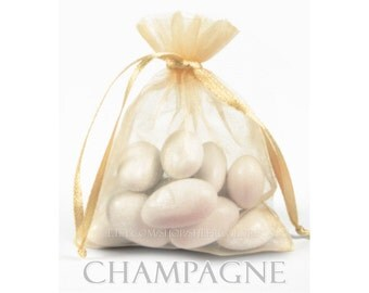 150 Champagne, Creamy Gold, Organza Bags, 3 x 4 Inch Sheer Fabric Favor Bags, For Wedding Favors, Jewelry Pouches