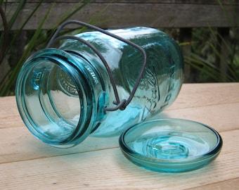 Quart Bicentennial Ball Aqua Blue Canning Jar With Original Paper Work
