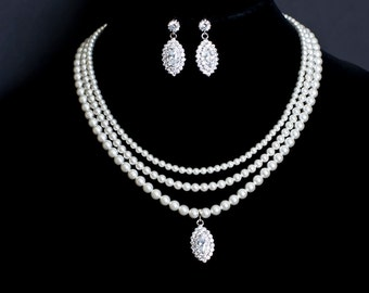 Bridal Statement  Neklace, Bridal Pearl Necklace, Multi Strand Bridal Pearl and Large Cubic Zirconia Pendant Necklace