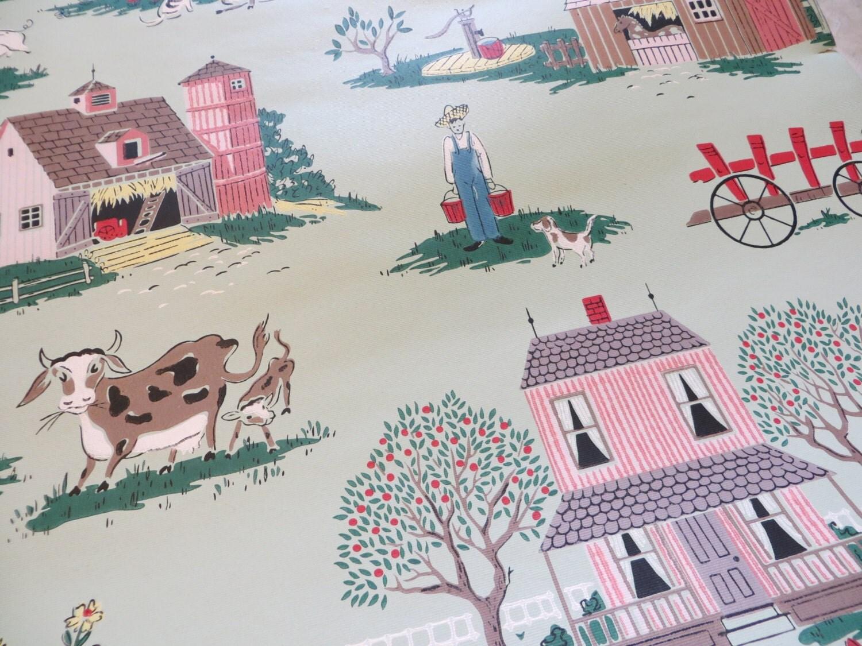 Deadstock Mid Century Rural Farm Ranch Wallpaper 3 Rolls