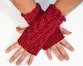 Red Tweed Fingerless Gloves Ruby Wrist Warmers Cable Handknit - MadebyMegShop