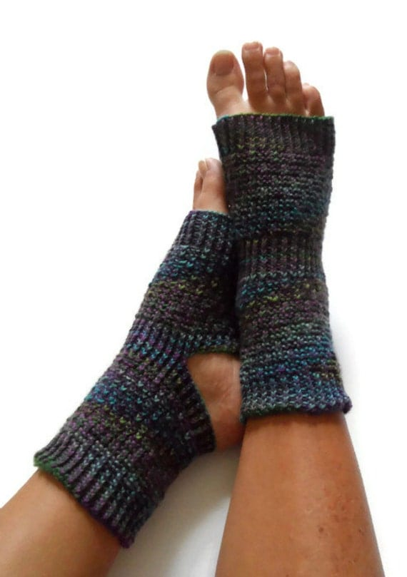 Toeless Yoga Socks Hand Knit in Make Believe by MadebyMegShop