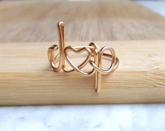 Custom Initial Ring Personalized Ring Gold Silver or Copper Monogram Ring Pinky Ring Love Ring Friendship Ring Jewelry Gifts Under 10