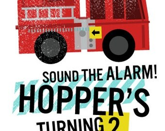 Modern Fire Truck Invitation / Children's Birthday - DIY Printable