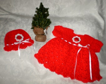 The Little Red Dress and Matching Hat 3 to 6 Months