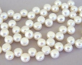 Grade AA top drilled 9mm white button freshwater pearls, full strand, 9mm to 10mm white bridal quality