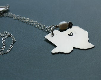 Heart of Texas Handstamped, Handmade Pendant, Texas State Pendant, Sterling Chain with Nickel Pendant