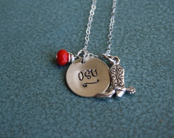 Metal Stamped OSU Necklace, Oklahoma State University, OSU Gameday Necklace, Cowboy Boot or Hat, Pokes Jewelry