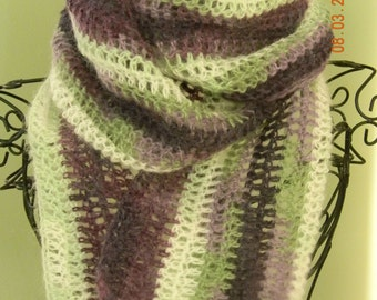 Purple Green and White lightweight Neck Scarf, Neckwarmer