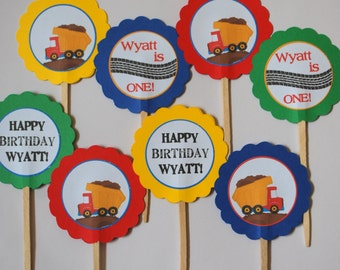 Dump Truck Cupcake Toppers - Set of 10 - Custom Colors/Art Available