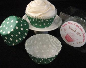 Dark Green with Medium White Polka Dots Cupcake Liners