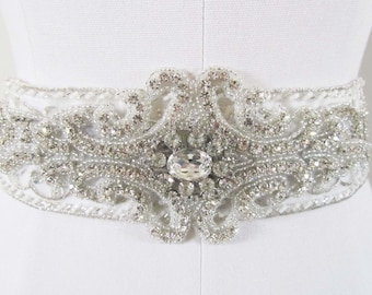 Wedding Dress Sash, Bridal Sash, Bridal Belt, Crystal Bridal Sash, Beaded Bridal Belt, Wedding Accessories