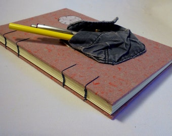 Time to Journal Hand Made Paper Pocket Journal With Coptic Stitch Binding for Writing, Drawing or Library