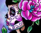 Sugar Skull Girl Signed Limited Edition Art Print - Isabella - Day of the Dead Tattoo Illustration Flash - 21 of 25 - 5x7 in
