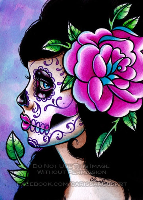 Sugar Skull Girl Signed Limited Edition Art Print - Isabella - Day of the Dead Tattoo Illustration Flash - 20 of 25 - 5x7 in