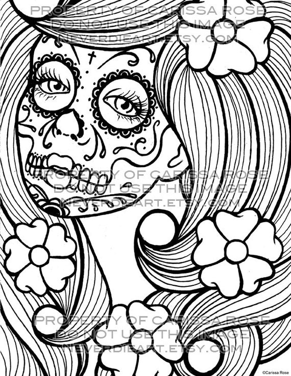 free printable day of the dead coloring pages - day of the dead tattoo flash digital download print your own