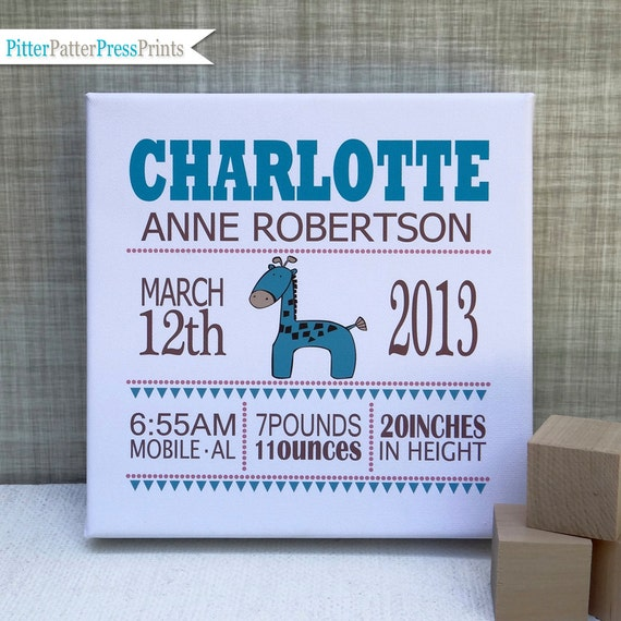 Baby Information Art Canvas Birth Announcement Canvas for