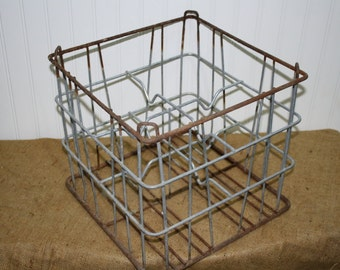 Vintage Metal Milk Bottle Crate