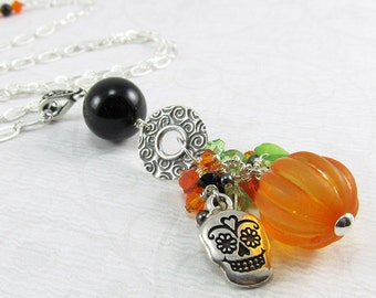 Halloween Orange and Black Cluster Drop Silver Necklace