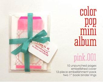 Pink Mixed Media Media Paper Pack . Color Pop Mini Album Notebook Kit Smash Art Journal Travel Trip Baby Brag Scrapbook Album