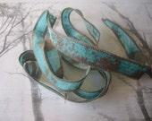 Hand Dyed Painted Habotai - Silk Wrap Bracelet - Verdigris Aqua - Fairy Ribbon, DIY wrap bracelet, Silk Bracelet, Ribbon Wrap, Ribbon