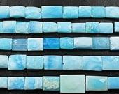 14 inches, 15-17mm, Natural Blue Peruvian Opal Faceted Rectangular Cube Beads, SKU2769