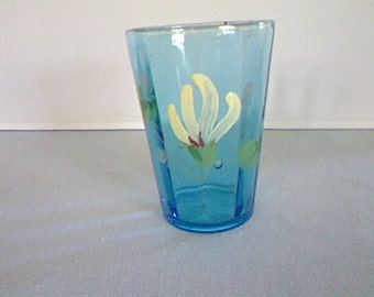 Antique Hand Painted Victorian Blue Tumbler