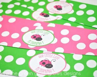 Lady Bug Water Bottle Labels