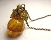 Long Antique Brass Amber and Mint Briolette Czech Glass Custer Necklace