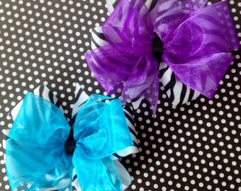 Zebra Print Large Double Bow- You Choose the Top Color