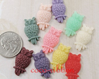 10/20/50pcs 25mm Mixed Color Owl Kawaii Bling Flatback Resin Cabochon